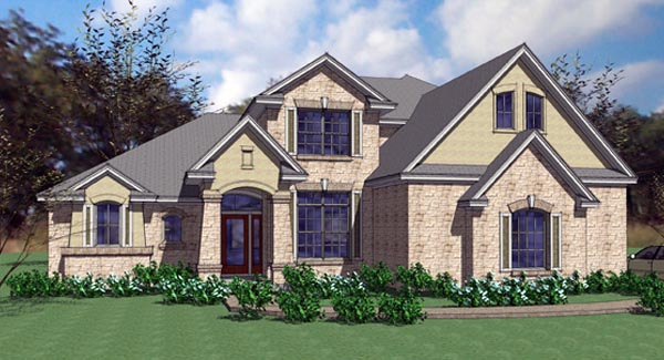 Contemporary, European, Modern House Plan 75105 with 4 Beds, 3 Baths, 2 Car Garage Elevation