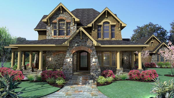 Country, Craftsman, Tuscan House Plan 75106 with 3 Beds, 3 Baths, 2 Car Garage Elevation