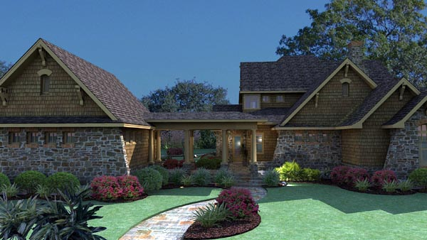 Country, Craftsman, Tuscan House Plan 75106 with 3 Beds, 3 Baths, 2 Car Garage Rear Elevation
