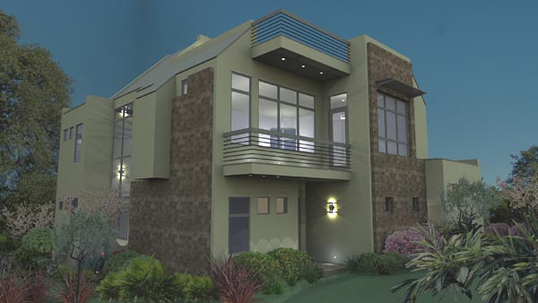 Modern , Florida , Contemporary House Plan 75107 with 3 Beds, 4 Baths, 2 Car Garage Rear Elevation