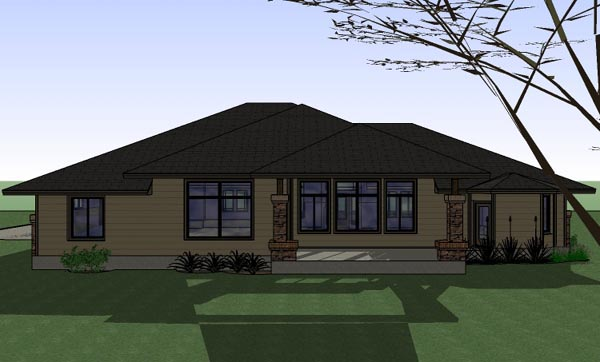 Country Plantation Southwest House Plan 75114 Rear Elevation