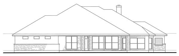 Colonial Traditional Rear Elevation of Plan 75115