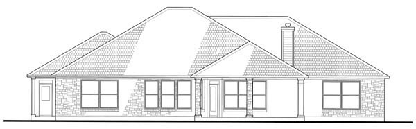 Colonial , Traditional , Rear Elevation of Plan 75118