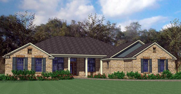 Colonial , Traditional House Plan 75119 with 4 Beds, 4 Baths, 2 Car Garage Elevation