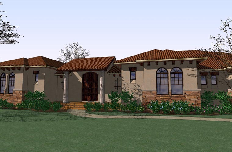 Italian, Mediterranean, Traditional House Plan 75123 with 3 Beds , 3 Baths , 3 Car Garage Elevation