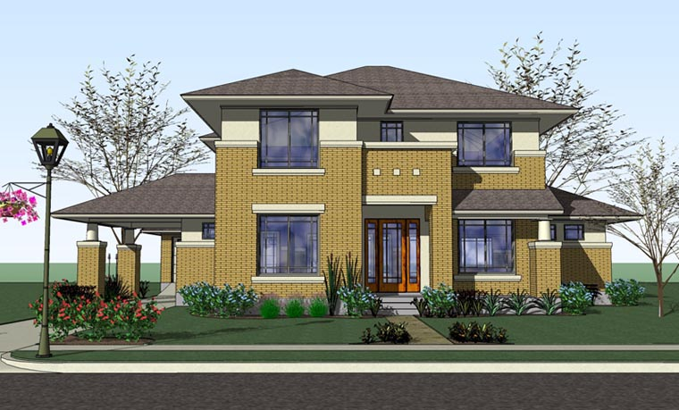 Prairie Style Southern Traditional House Plan 75124 Elevation