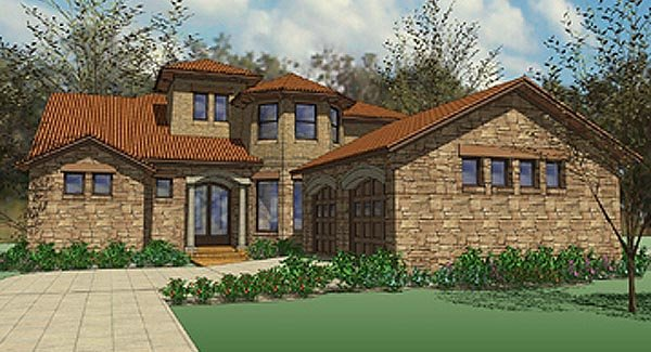 Contemporary Florida Mediterranean House Plan 75127 Elevation