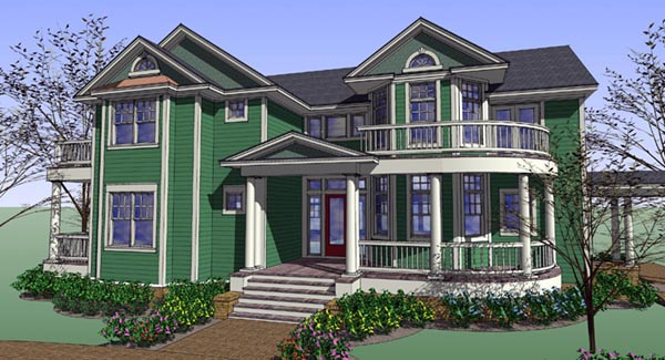 Country Farmhouse Traditional Victorian House Plan 75128 Elevation