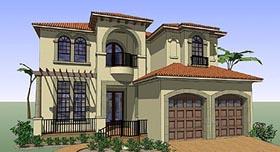 House Plan 75131 | Coastal, Contemporary, Florida, Italian, Mediterranean Style House Plan with 4802 Sq Ft, 4 Bed, 7 Bath, 2 Car Garage Elevation