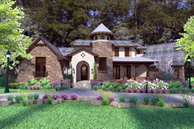 Craftsman , Tuscan House Plan 75132 with 3 Beds, 4 Baths, 2 Car Garage Elevation
