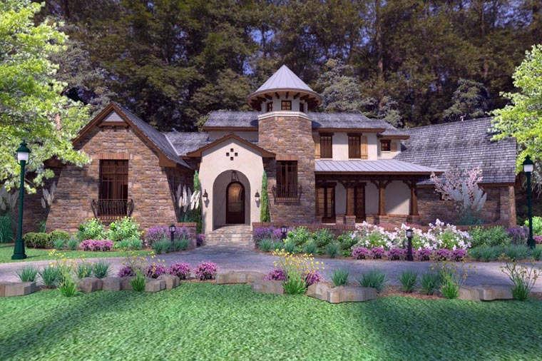 Craftsman, Tuscan House Plan 75132 with 3 Beds, 4 Baths, 2 Car Garage Front Elevation