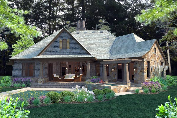 Cottage Craftsman French Country Rear Elevation of Plan 75134