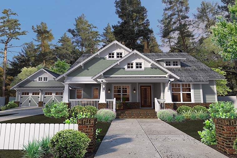 Bungalow , Cottage , Craftsman , Elevation of Plan 75137