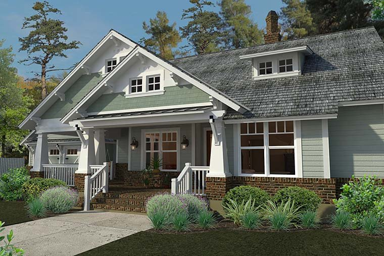 House Plan 75137 | Bungalow Cottage Craftsman Farmhouse Style Plan with 1879 Sq Ft, 3 Bedrooms, 2 Bathrooms, 2 Car Garage