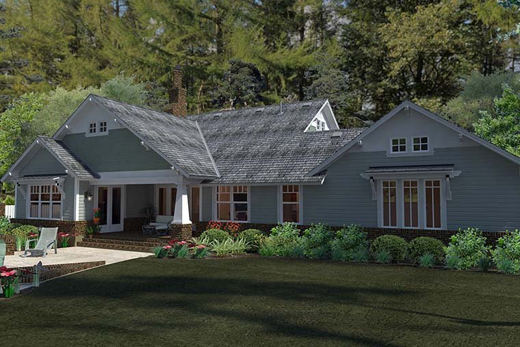 Cottage Craftsman Farmhouse House Plan 75137 Rear Elevation