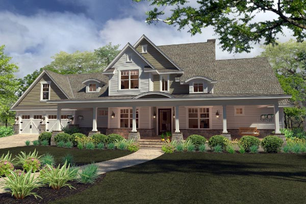 Country , Farmhouse , Southern , Elevation of Plan 75138
