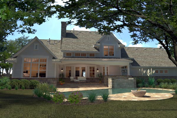Country Farmhouse Southern House Plan 75138 Rear Elevation