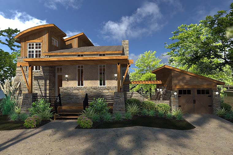Contemporary Cottage Craftsman Modern Tuscan House Plan 75140 Elevation