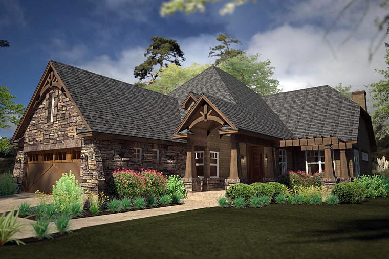Cottage, Country, Craftsman House Plan 75141 with 2 Beds, 2 Baths, 3 Car Garage Elevation