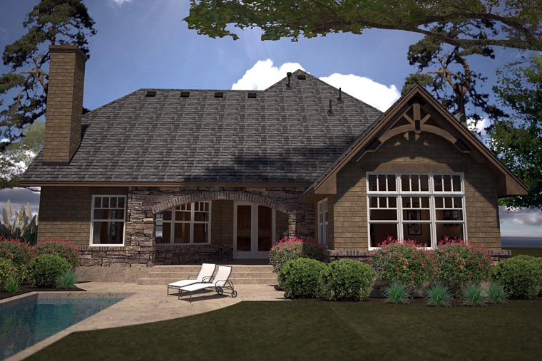 Cottage, Country, Craftsman House Plan 75141 with 2 Beds, 2 Baths, 3 Car Garage Rear Elevation