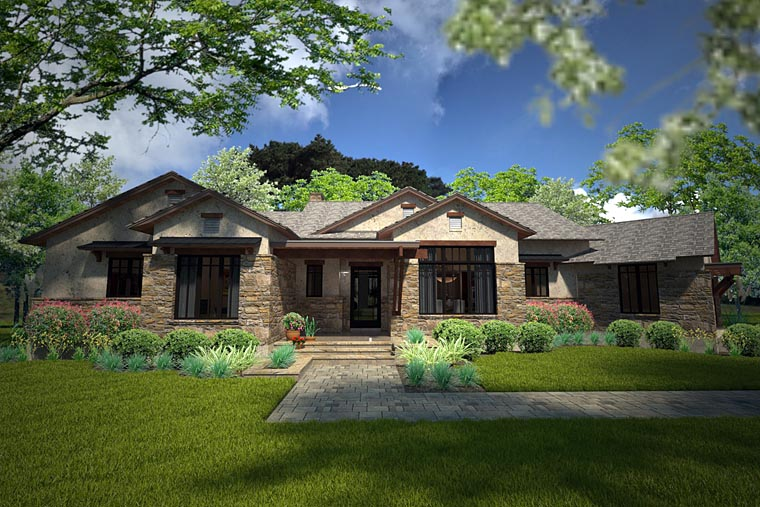 Country, European, Ranch, Southwest, House Plan 75143 with 3 Beds, 3 Baths, 2 Car Garage Elevation