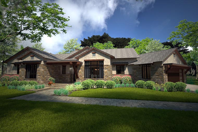 Country European Ranch Southwest House Plan 75143