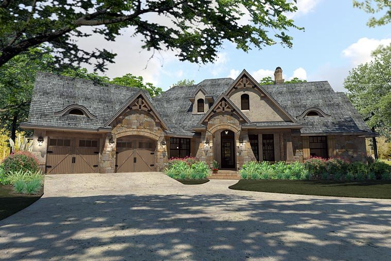 Craftsman, Traditional, Tuscan House Plan 75144 with 3 Beds, 3 Baths, 2 Car Garage Elevation