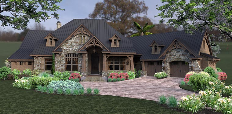 Country Craftsman Tuscan Elevation of Plan 75145