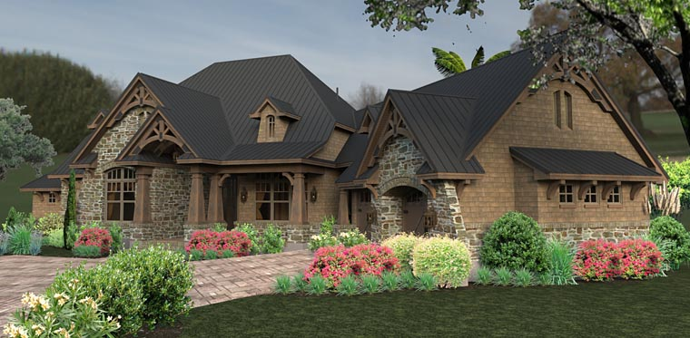 Tuscan, Craftsman, Country, House Plan 75145 with 3 Beds, 2 Baths, 2 Car Garage