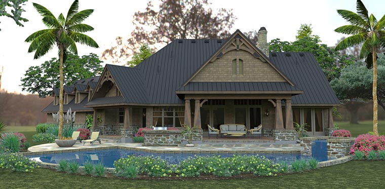 Country Craftsman Tuscan Rear Elevation of Plan 75145