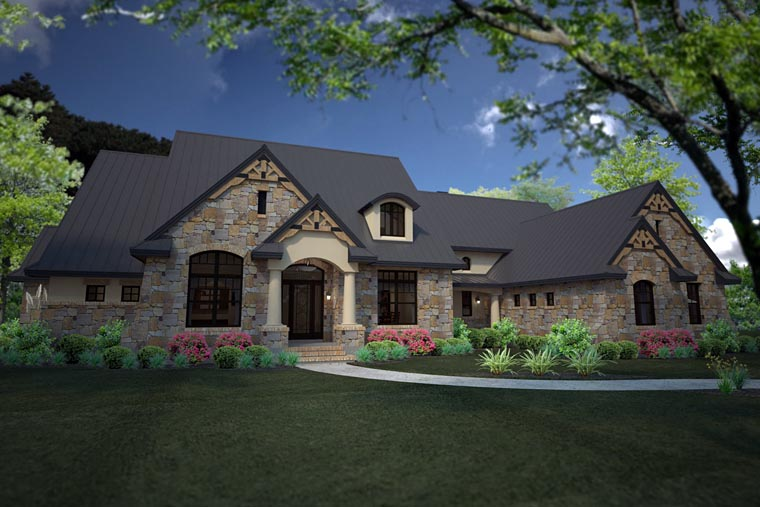 Country Craftsman European Tuscan House Plan 75146