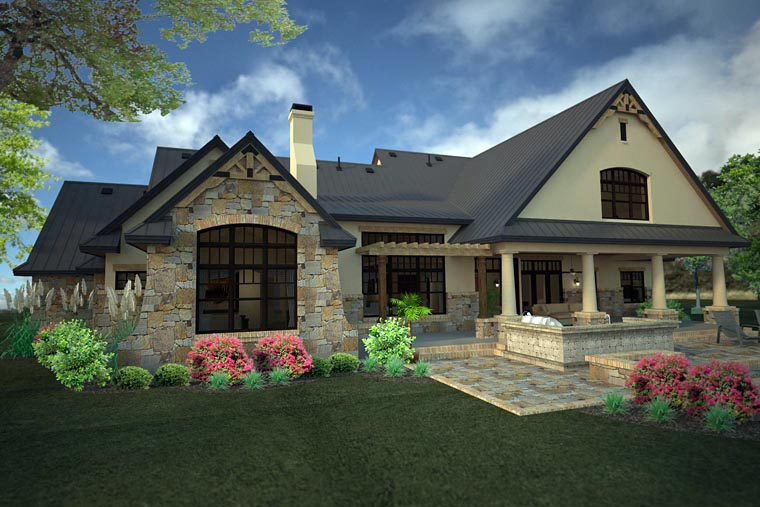 Country Craftsman European Tuscan House Plan 75146 Rear Elevation