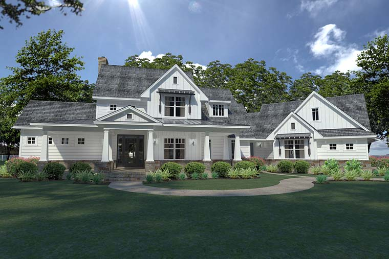 Country Farmhouse Southern Elevation of Plan 75148