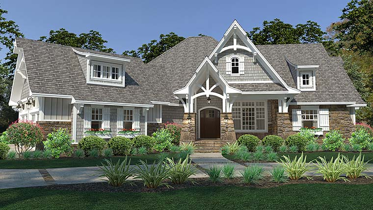 Cottage Craftsman European Farmhouse Elevation of Plan 75149