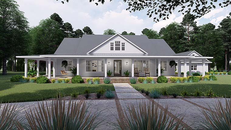 Country Farmhouse Southern Elevation of Plan 75151