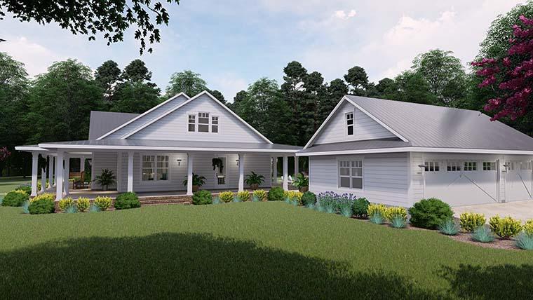 Country Farmhouse Southern House Plan 75151