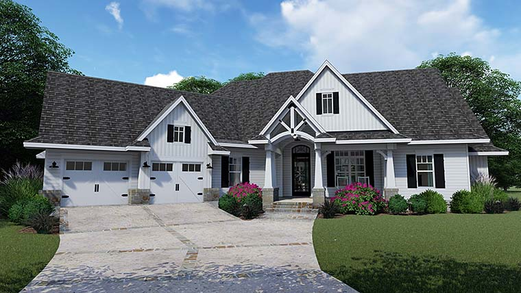 Cottage Country Farmhouse Southern Traditional House Plan 75152 Elevation