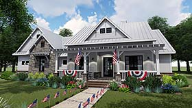 Cottage , Country , Farmhouse House Plan 75153 with 3 Beds, 3 Baths, 2 Car Garage Elevation