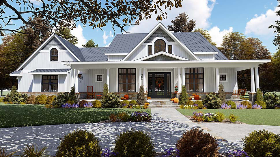 Country Farmhouse Southern Elevation of Plan 75154