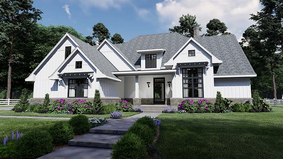 Country , Farmhouse , Southern House Plan 75156 with 4 Beds, 4 Baths, 2 Car Garage Elevation