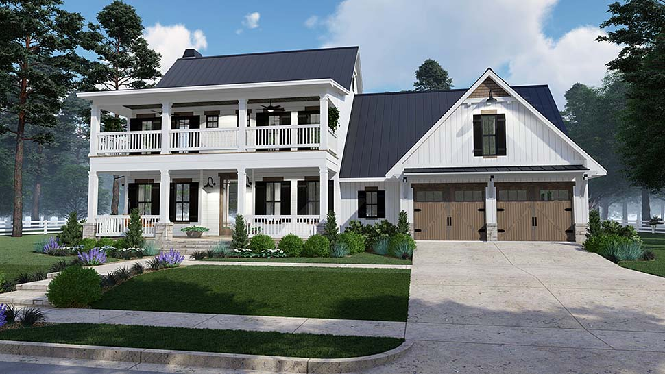 Colonial, Country, Southern House Plan 75157 with 3 Beds, 3 Baths, 2 Car Garage Elevation