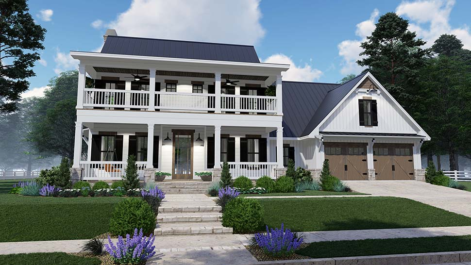 Colonial, Country, Southern Plan with 2458 Sq. Ft., 3 Bedrooms, 3 Bathrooms, 2 Car Garage Picture 2