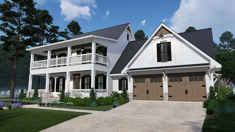 Colonial, Country, Southern, House Plan 75157 with 3 Beds, 3 Baths, 2 Car Garage