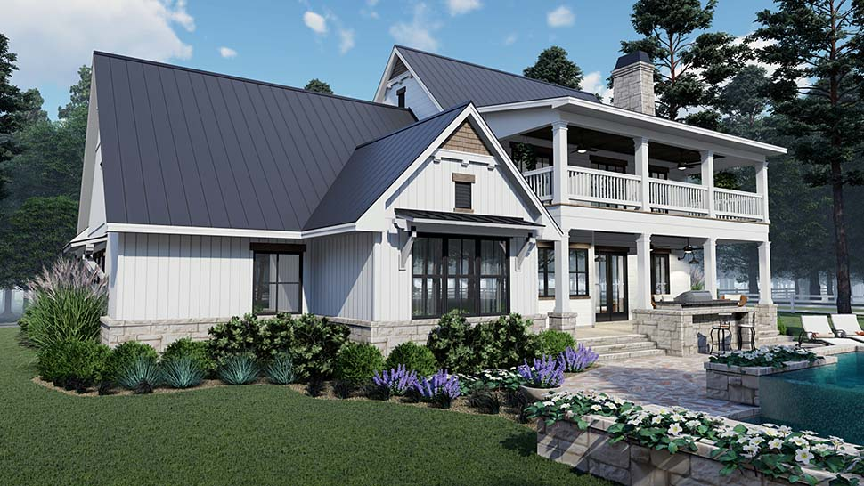 Colonial, Country, Southern Plan with 2458 Sq. Ft., 3 Bedrooms, 3 Bathrooms, 2 Car Garage Picture 5