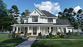Country Farmhouse Traditional House Plan 75158 Elevation