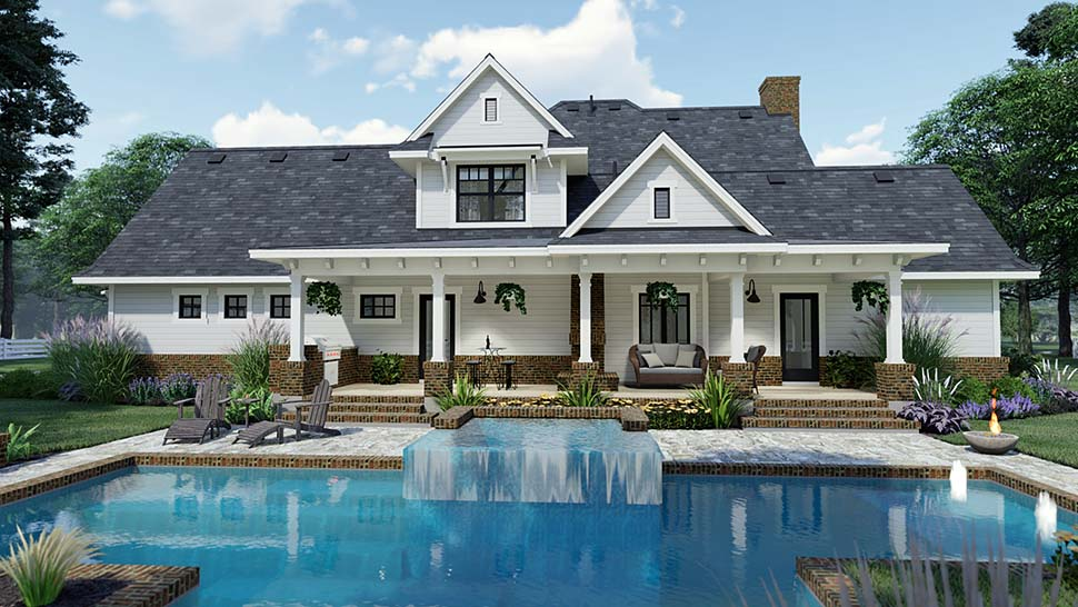 Traditional , Farmhouse , Country House Plan 75158 with 3 Beds, 3 Baths, 2 Car Garage Rear Elevation