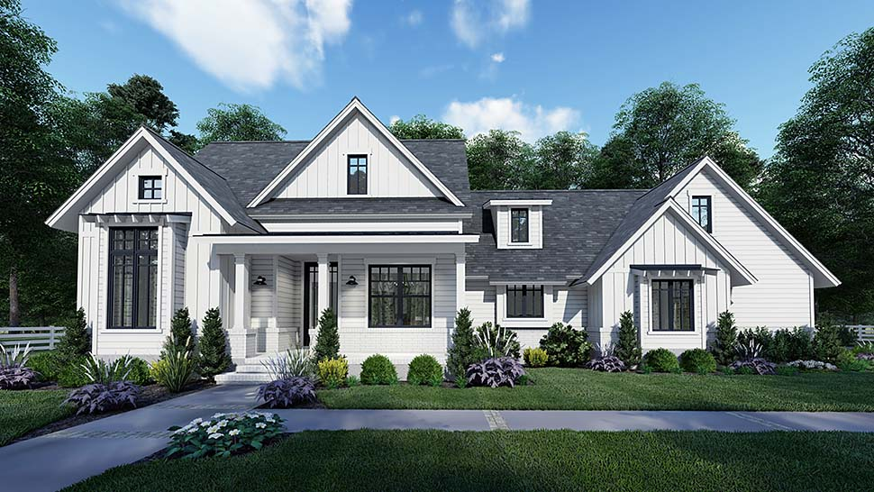 Country Craftsman Farmhouse Southern Elevation of Plan 75159