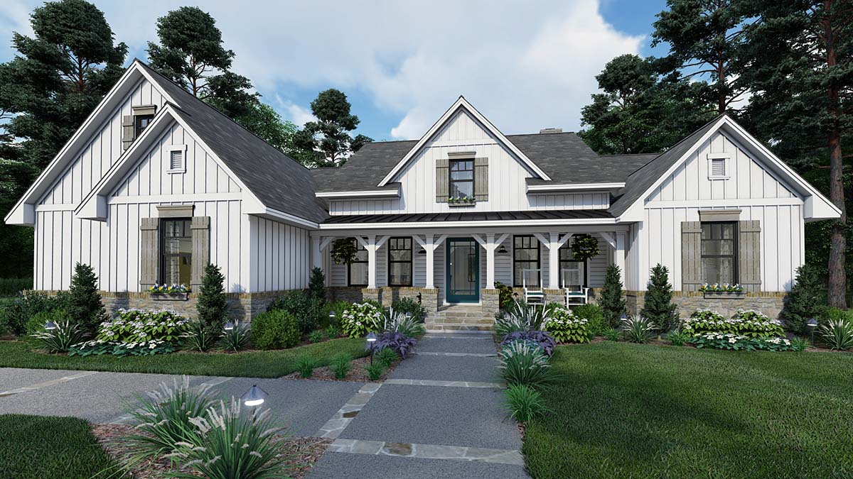 House Plan 75160 - Southern Style with 2459 Sq Ft, 4 Bed, 3 Bath