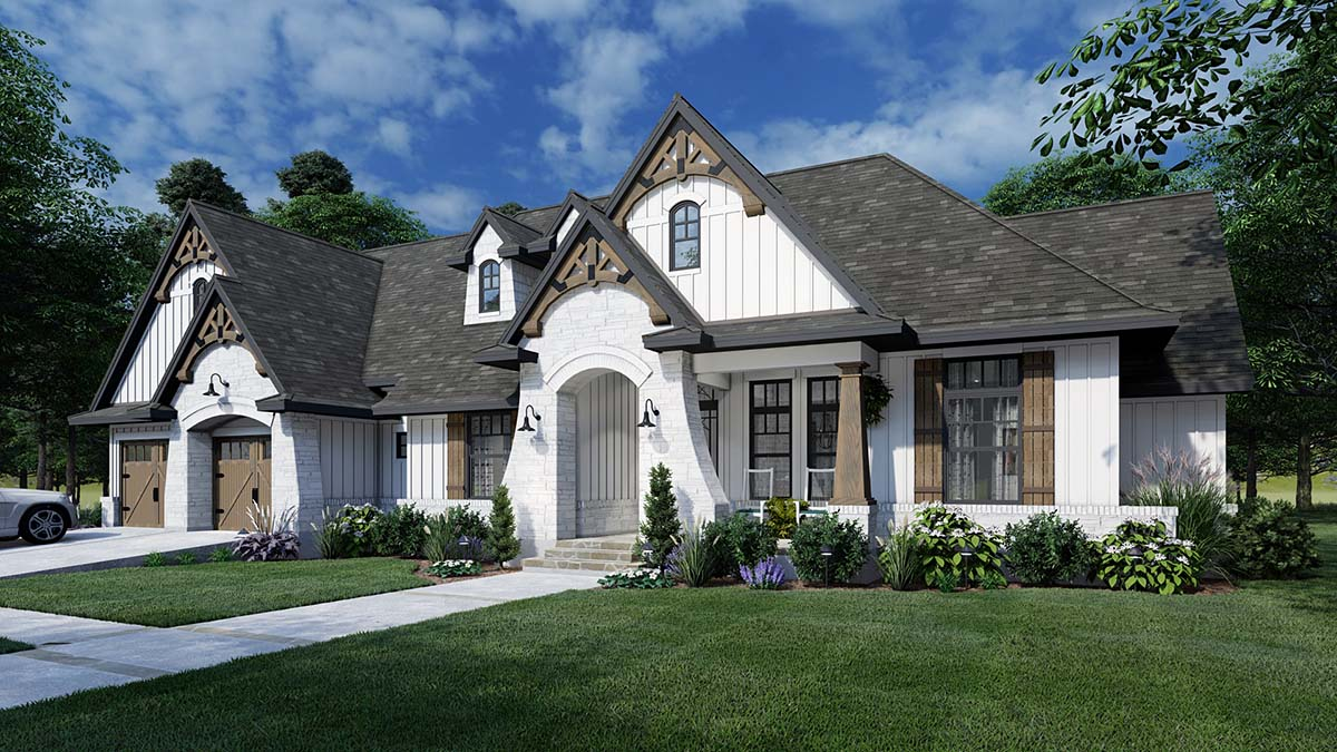 European , Farmhouse , Traditional House Plan 75161 with 4 Beds, 3 Baths, 2 Car Garage Elevation