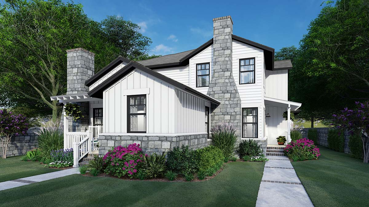 Cottage, Farmhouse Multi-Family Plan 75162 with 6 Beds, 6 Baths, 4 Car Garage Front Elevation